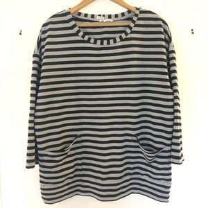 Anthropologie grey and white striped long sleeve